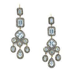 Pair of Silver, Gold, Aquamarine and Diamond Pendant-Earrings