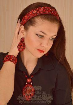 """ободок """"Запах женщины"""" - ярко-красный,страсть,танго,ободок для волос,украшение для волос"""