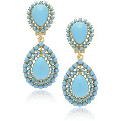 KENNETH JAY LANE Double Drop Turquoise Earrings, found on polyvore.com