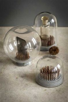 Glass Dome with Metal Spiked Base