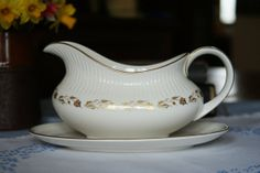 Royal Doulton Bone China Gravy Boat and Stand. White & Gold Fairfax Pattern. English Translucent China. T.C. 1006
