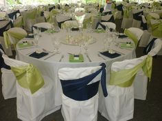 Sanojah's Bespoke Linen Peau de Soie Satin Lime Green and Navy Sashes Chair Ties, Sash, Bespoke, Bliss, Table Decorations, Green, Home Decor, Taylormade, Decoration Home