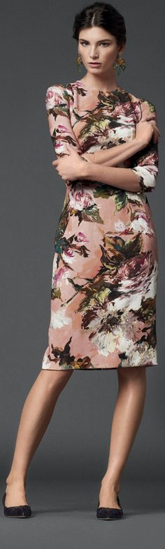 Dolce & Gabanna 2013 women fashion clothing outfit apparel style stunning dress floral colorful