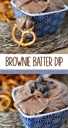 to whip together, this Brownie Batter Dip is perfect on anything from pretzels to strawberries, animal crackers to apples.Seconds to whip together, this Brownie Batter Dip is perfect on anything from pretzels to strawberries, animal crackers to apples. Dessert Dips, Köstliche Desserts, Delicious Desserts, Dessert Recipes, Yummy Food, Cake Recipes, Brownie Desserts, Health Desserts, Think Food