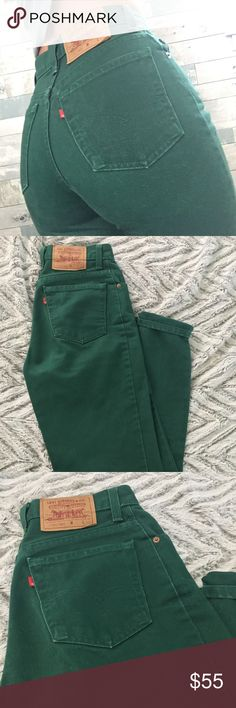 Levi's • Vintage Forest Green Jeans One of a kind vintage Levi's jeans. They are so cute and really give you that 90's booty. Found these cuties today but they suck the life out of me  So tight! They are very thick (last long) & in great condition! I am normally a size 4 in modern jeans, and these would fit size 0-2! (26 in waist) Levi's Jeans Straight Leg