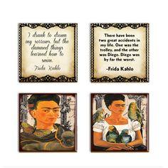 Frida Kahlo  Drink Coasters Frida Quotes by DesignsofFaithandJoy