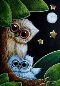 Detail Image for art TINY GIRLY OWL WITH NEW BLUE OWL DOLL