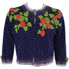 Pre-owned 1950's Beaded Strawberry Motif Cashmere Sweater - Polyvore