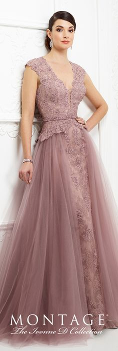 Formal Evening Gowns by Mon Cheri - Fall 2017 - Style No 217D84 - pink topaz lace evening dress with tulle overskirt and cap sleeves