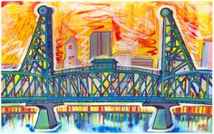 Hawthorne Bridge  5x8 Art print mounted on wood by bibbyscapes, $25.00