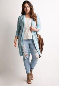 Plus Size Heathered Longline Cardigan
