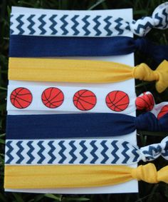 7 Pack Navy Yellow Indiana Pacers basketball Hair Ties bracelet Stretch Fold Over Elastic Chevron (5.50 USD) by LoveMeKnotHairTies