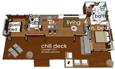 Modern Style House Plan - 2 Beds 2 Baths 860 Sq/Ft Plan #484-5 Floor Plan - Main Floor Plan - Houseplans.com