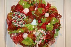 Christmas Deco Mesh Wreath by Cindywdesigns on Etsy, $110.00