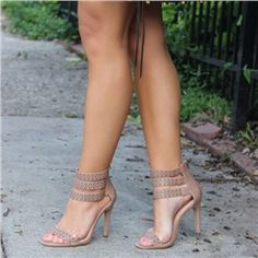 Shoespie Nude Color Carving Dress Sandals