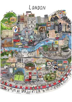 Map of London by Maisie Paradise Shearring. [London: an Illustrated View]. London Map, London Travel, London Food, Travel Maps, Travel Posters, Travel Europe, Spain Travel, Hawaii Travel, Solo Travel