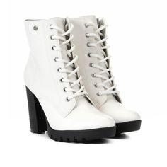 51d200a31 Bota Coturno Via Marte Tratorada Lisa Salto Alto Feminina - Branco |  Zattini #calçados #