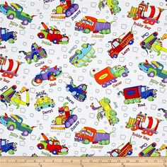 Monster Trucks Truck Toss White from @fabricdotcom  Designed by Sue Marsh for RJR Fabrics, this cotton print fabric features playful trucks cruising around with their friends. Perfect for quilting, apparel and home decor accents. Colors include black, white, grey, red, golden orange, orange, burnt orange, yellow, purple, light purple and shades of blue and green.