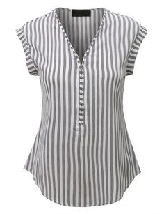 A center front zipper adds a unique stylish point to a casual striped blouse top fashioned with a semi sheer material and a curved hem. Perfect for any occasio… Loose Fitting Tops, Loose Tops, Short Tops, Blouse Designs, Designer Dresses, Fashion Dresses, Womens Fashion, Fashion Trends, Casual