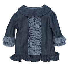 Persnickety Forget Me Not Stella Jacket for Girls in Denim - Ruffles!