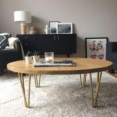 DIY tuto table basse pieds en métal Ripaton hairpin legs & plateau bois chevrons
