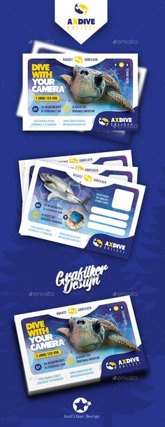 Ocean Diving Postcard Templates - Cards & #Invites #Print Templates Download here:  https://graphicriver.net/item/ocean-diving-postcard-templates/19766715?ref=alena994
