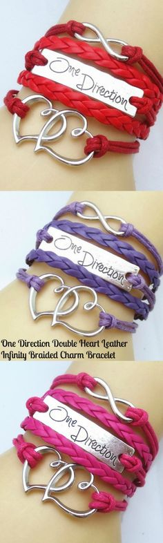 One Direction Double Heart Leather Infinity Braided Charm Bracelet! Click The Image To Buy It Now or Tag Someone You Want To Buy This For.  #OneDirection