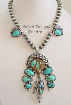 Royston Ribbon Turquoise Squash Blossom, feather & Navajo pearl necklace ~ Schaef Designs