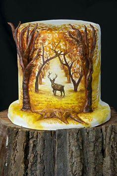 The realistic fall design Pretty Cakes, Beautiful Cakes, Amazing Cakes, Unique Cakes, Creative Cakes, Bolo Russo, Bolo Original, Deer Cakes, Woodland Cake