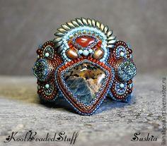 Купить Браслет Suskia - морская волна, изумрудный, бирюзовый, терракотовый, Вышивка бисером, браслет