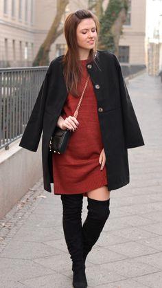 Pinterest made me love it | Braunes Strickkleid, Overknees und schwarzer Mantel - JustMyself