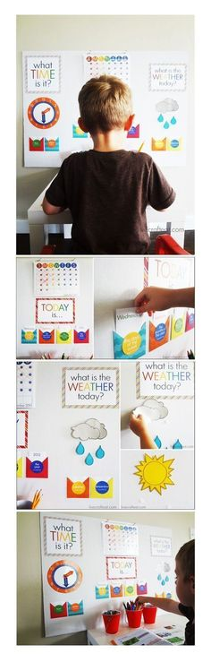 "For parents of Kindergarteners: Creating a ""school board"" at home will give your child the opportunity to show you what they learned at school that day! #homeschoolingideasfortoddlers"