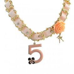 Romamtic Jewelry 5 Pendant Gold Color Chain Pink Rhinestone Ribbon Choker Necklace For Women
