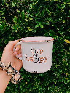 Cup of happy mug Happy Coffee, Cute Coffee Mugs, Cute Mugs, I Love Coffee, Coffee Break, Morning Coffee, Coffee Shop, Coffee Cups, Coffee Coffee