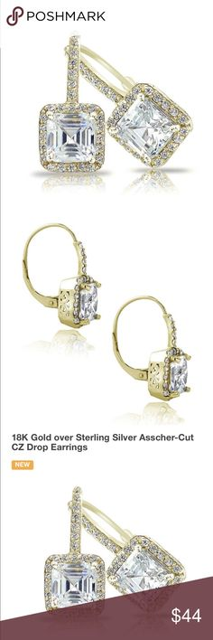 NEW ASSCHER CUT DROP EARRINGS AMAZING ASSCHER CUT DROP EARRINGS WITH ACCENTS!! 18K GOLD PLATING OVER STERLING SILVER IN OERSON THEYRE ARE ABSOLUTLY STUNNING includes black velvet pouch Jewelry Earrings