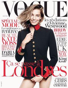 Daria Werbowy Graces Vogue Paris August 2013 Cover in Ralph Lauren