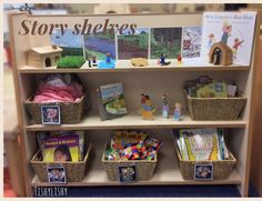 Updated story shelves in my early years classroom Montessori Classroom, Preschool Literacy, Preschool Classroom, Literacy Activities, In Kindergarten, Year 1 Classroom Layout, Preschool Reading Area, Preschool Layout, Classroom Design