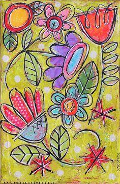 Mixed Media Floral original painting  Tiny Garden #3 by gina mckinnis, via Flickr Doodle Canvas, Doodle Art, Canvas Art, Mixed Media Painting, Mixed Media Art, Flower Doodles, Simple Art, Art Journal Pages, Art Journals