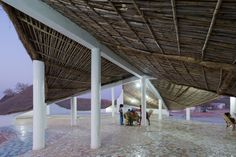 This cultural centre in Senegal by Japanese architect Toshiko Mori was constructed using exclusively local materials and techniques – and has been recognised in the architecture category of the 2017 AIA Awards. Pergola Ideas For Patio, Deck With Pergola, Patio Roof, Pergola Roof, Pergola Plans, Architecture Office, Sustainable Architecture, Architecture Design, Vernacular Architecture