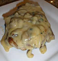 Garlic Butter and Mushroom Pork Chops..Baked Pork Chops smothered in a garlic and mushroom sauce   My Cooking Pots