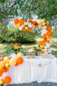 Beautiful white, orange, peach, and greenery outdoor baby shower dessert table | baby shower ideas, baby shower themes, baby shower decorations, baby shower food, baby shower cakes, baby shower ideas for girls themes, baby shower food ideas, baby shower themes girl, baby shower themes for boys, baby shower decorations for boys, baby shower balloons, baby shower decorations girl, baby shower backdrop, girl baby shower, drive by baby shower, baby shower girl decoration, boy baby shower Baby Shower Backdrop, Baby Shower Table, Baby Shower Balloons, Baby Shower Cakes, Balloon Tower, Balloon Backdrop, Balloon Decorations, Baby Girl Shower Themes, Baby Shower Decorations For Boys