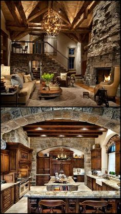 39 Gorgeous Rustic Living Rooms With Charming Stone Fireplace > Fieltro.Net Rustic house gorgeous rustic living rooms with charming stone fireplace 9 > Fieltro. Log Cabin Homes, Log Cabins, Mountain Cabins, Mountain House Decor, Log Cabin Kitchens, Log Cabin Living, Tuscan Kitchens, House Goals, Cozy House