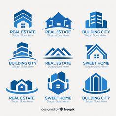Real estate logo Vectors, Photos and PSD files Building Logo, House Building, Business Logo, Business Card Design, Logo Vert, Logo Abstrait, Logo Professionnel, Roofing Logo, House Silhouette