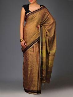 Polka Sequinned Handwoven Cotton-Silk Saree - Golden Brown