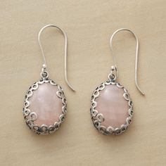 """EFFERVESCENCE EARRINGS--Cabochon-cut rose quartz is embraced by intricate sterling silver, as light and lacey as sea foam. Exclusive. 1-3/8""""L."""