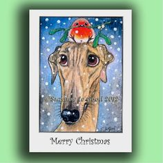 GREYHOUND DOG and ROBIN Christmas  Cards pack by SuzannesGallery