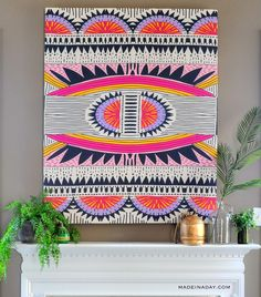 Mount a large tapestry with foam for large wall art.