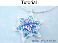 Beaded Snowflake Earrings Necklace Jewelry Making Tutorial with Two Hole DiamonDuo Beads in Team Sport Color or Frozen Blue Pattern Tutorial by Simple Bead Patterns | Simple Bead Patterns