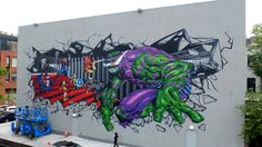 Artist Federico Massa aka Cruz painted this Marvel mural on the Williamsburg Cinemas in Brooklyn.