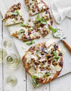 Tarte Flambee with Red Onion, Parmesan, Basil and Mushroom